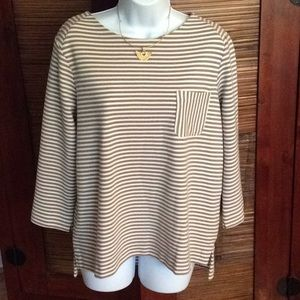 Tops - Tan and  Ivory Stripped top with pocket